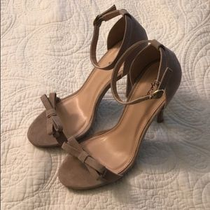 taupe ankle strap pumps